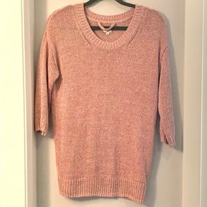 Aritzia Wilfred Pink Cable knit Scoop Neck Sweater